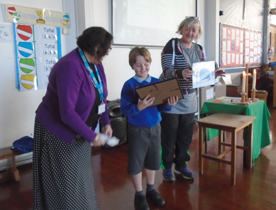 Henry Robson was the lucky recipient of a framed artist's impression of his shark picture.